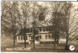 Chelsea's New School Building Old School House Black and White Real Photograph