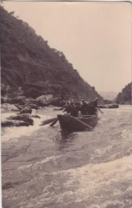 RP: People in boat going through river rapids , Japan , PU-1908 ; KIOTO