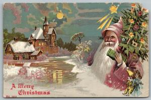 Christmas Hold to Light~Santa in Mauve Robe~Pointy Wizard Hat~Decorated Tree~HTL