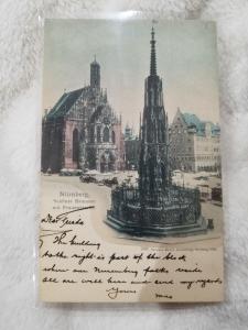Antique Postcard, Nurnberg, Schoner Brunnen mit Frauenkirche  Not Posted