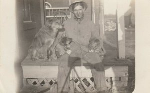 RP: Man & Three Dogs  , 1900-10s