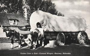 Kearney, NE, Golden Gate or Bust, Covered Wagon, 1944 Vintage Postcard f3959