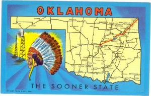 Oklahoma The Sooner State Map Card OK