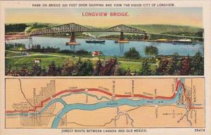 Map Of Lower Columbia River Highway & Longview Bridge