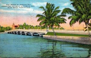 Florida Miami Beach East Bridge On Venetian Way 1937