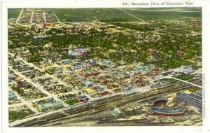 Air View of Cheyenne Wyoming WY  1946 Linen
