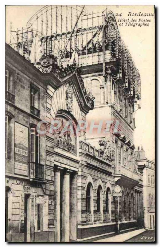 Vintage Postcard Bordeaux post office building and Telegraphs