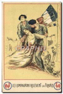 Postcard Old Scout Jamboree companions the relevent France Illustrator Mauzan