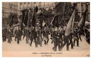 19384  Funeral  Events  of Jean Jaures 1914    marchers with flags