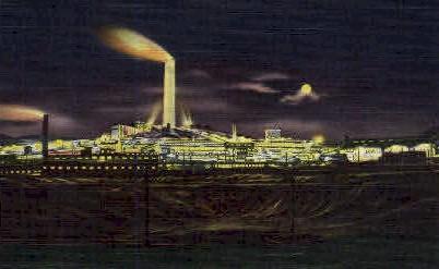 A.C.M. Co. Smelter at Night Anaconda MT Unused