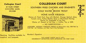 Vintage 1968 Collegian Court Coupon, Chicopee, Mass/MA