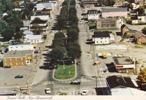 Canada New Brunswick Grand Falls Broadway Street Main Business Area Aerial View