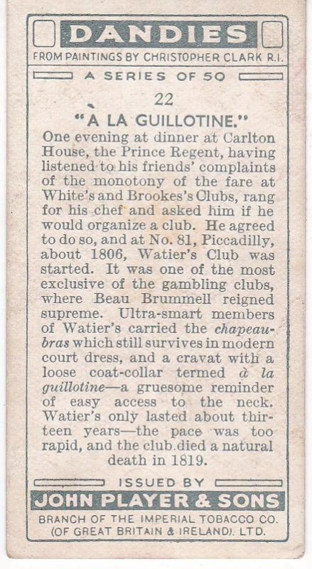 Cigarette Card Player's Dandies No 22 A Member of Watiers Club
