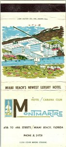 MONTMARTRE Hotel/Cabana Club Miami Beach Florida Vintage Matchbook Cover #2