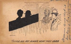 Things Are Not Always What They Seem~Silhouettes on Fence~Man Blows Smoke~1907