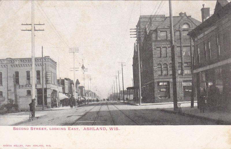 ASHLAND, Wisconsin, 1901-07; Second Street, Looking East, Store Fronts