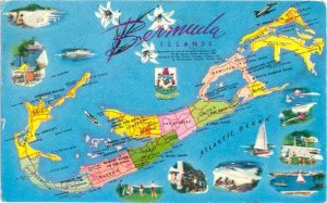 Bermuda Islands Map Card, 1965 Chrome