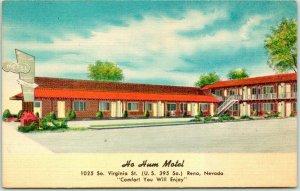 1950s Reno, Nevada Postcard HO HUM MOTEL Virginia Street Hwy 395 Roadside LINEN