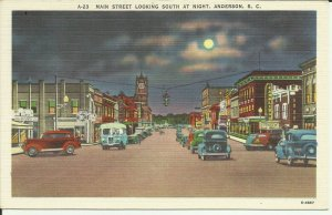 Anderson, S.C., Main Street Looking South At Night