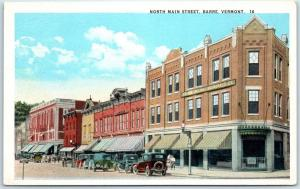 Barre, Vermont Postcard NORTH MAIN STREET Downtown Scene Stores Curteich 1930s