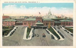 Providence Rhode Island~Union Railroad Passenger Station~Cars~Trolleys~1920s PC