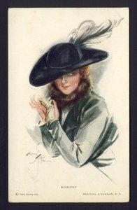 WIRELESS #832 R&N woman removes white gloves, black hat  HARRISON FISHER artist