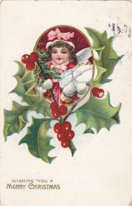 CHRISTMAS; Wishing, Girl, bonnet, holding gift, Holly, 00-10s