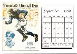 1990 Sheet Music Calendar Series September You Gotta Be A Football Hero To Ge...