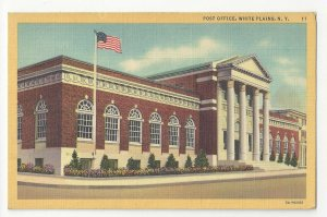 NY Post Office White Plains New York Vintage 1935 Curteich Linen Postcard