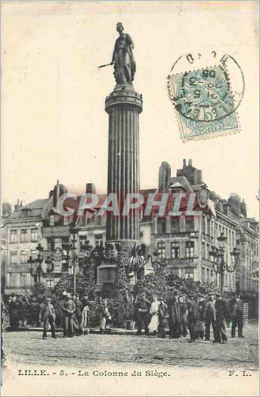 Postcard Old Lille's column seat