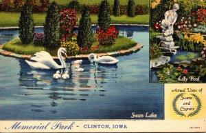 Iowa Clinton Memorial Park Swan Lake White Swans 1946 Curteich