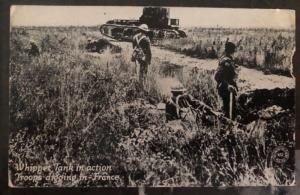 Mint Usa WW1 Real Picture Postcard RPPC Tank In Action Troops Digging France B