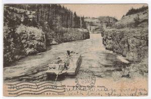 River Barge Raft Miles Canyon Alaska 1905 postcard