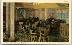 Yellowstone National Park Postcard OLD FAITHFUL INN Bear Pit Lounge Bar Linen