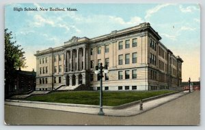 New Bedford Massachusetts~High School~Terraced Steps Uphill~1913 Postcard