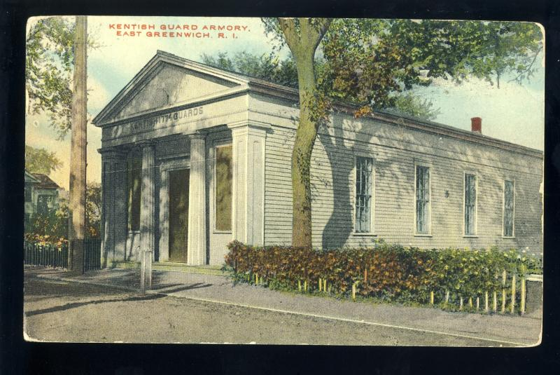East Greenwich, Rhode Island/RI Postcard, Kentish Guard Armory, 1921!