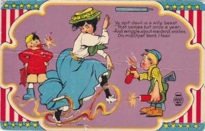 JULY 4th: Naughty boys blowing up firecrackers around surprised woman, Poem, ...