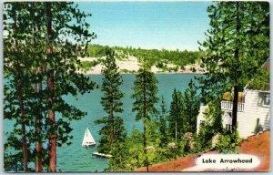 LAKE ARROWHEAD California Postcard Lake View / Boat Houses Linen 1955 Cancel