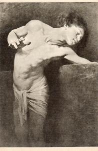 Narcissus study by Benczur hungarian artist early art postcard
