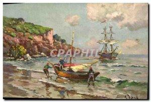 Old Postcard Fantasy Illustrator Barques of the Mediterranean