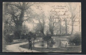 B & W PC Park Cherbourg France used to Canada 1906