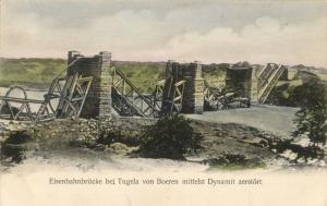 BOER WAR, Railway Bridge at Tugela with Dynamite destroyed by Boers (1900)