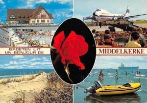 Belgium Groeten uit Middelkerke Plage Bateau, Airplane Airport Promenade Voiture