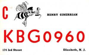 KBG0960 Elizabeth, NJ, USA QSL Unused