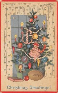 Christmas Post Card Old Xmas Postcard Writing on back