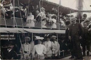 Social History old Postcard Abbazia 1904 Atelier Betty Cruise ship fancy hats