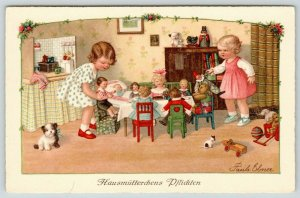 Pauli Ebner~Duties of Housemothers~Doll & Steiff Bear Tea Party~Dog~Toys~1920s