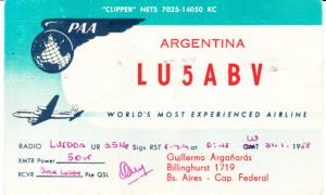 Argentina Pan American Airlines Card 1959