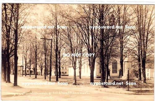 RPPC, Cong Church & Soldiers Monument, Moravia NY