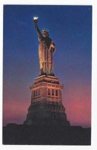 New York NY Statue of Liberty Night w Torch lit Postcard